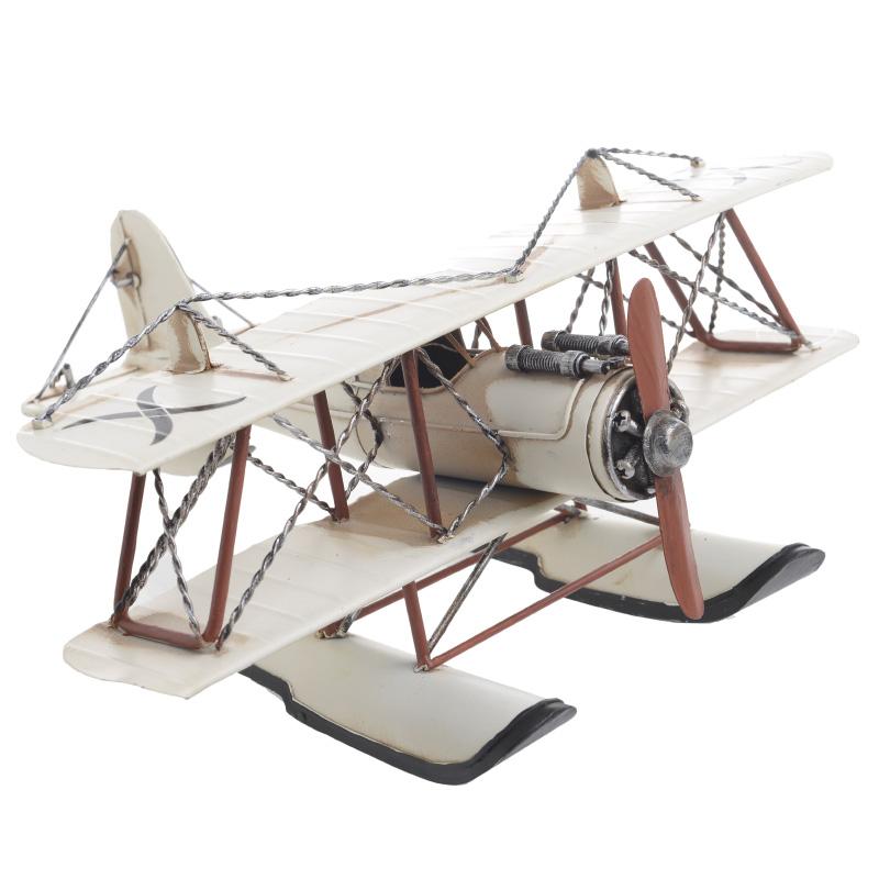 INART Αεροπλάνο μινιατούρα διακοσμητικό σε εκρού χρώμα