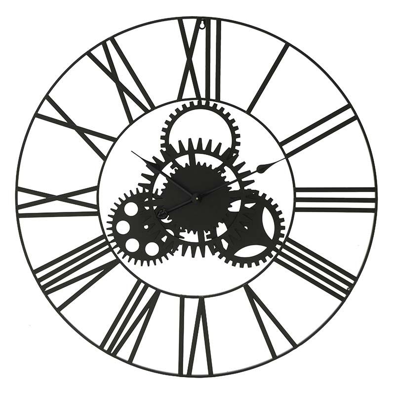 INART Ρολόι Τοίχου ΜΕΤΑΛΛΙΚΟ ΜΑΥΡΟ Διαστάσεις (ΜΠΥ)81εκ x 3εκ x 81εκ