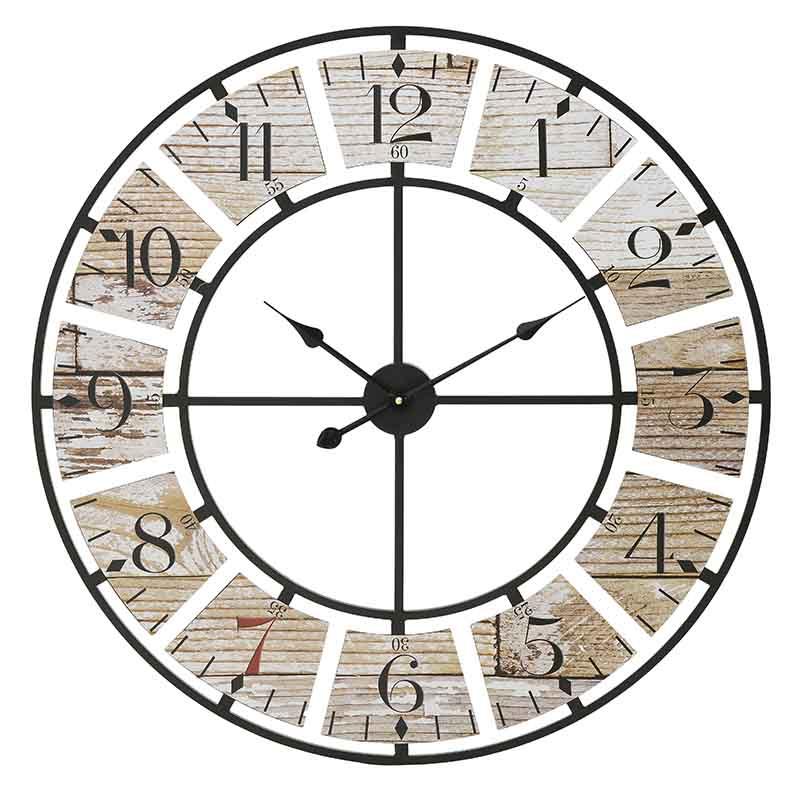 INART Ρολόι Τοίχου ΜΕΤΑΛΛΙΚΟ ΜΑΥΡΟ NATURAL Διαστάσεις (ΜΠΥ)80εκ x 3εκ x 80εκ