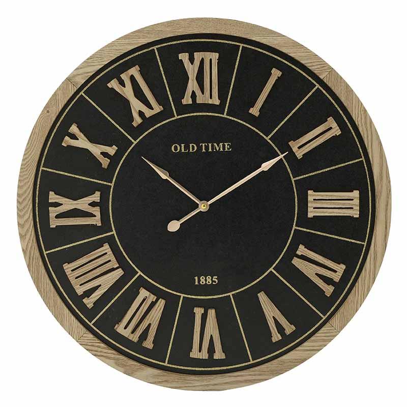 INART Ρολόι Τοίχου ΜΕΤΑΛΛΙΚΟ ΞΥΛΟ ΜΑΥΡΟ NATURAL Διαστάσεις (ΜΠΥ)60εκ x 4.5εκ x 60εκ