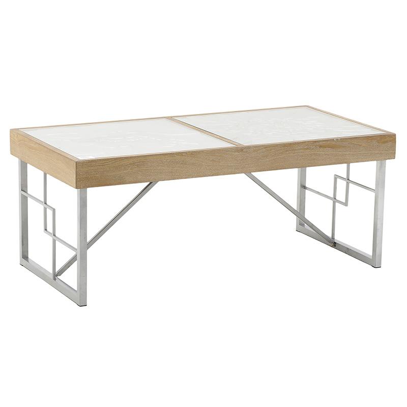 INART Τραπέζι Σαλονιού ΞΥΛΟ ΛΕΥΚΟ NATURAL 118X60X48