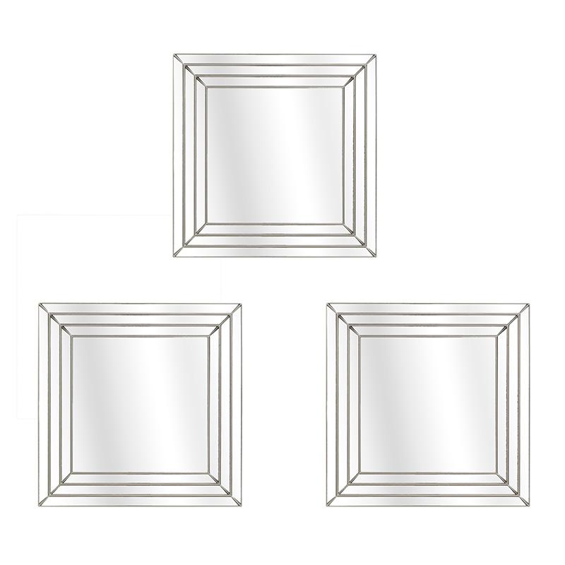 ΚΑΘΡΕΠΤΕΣ INART Καθρέπτης Τοίχου Σετ Των 3 pl χρυσος 25X25